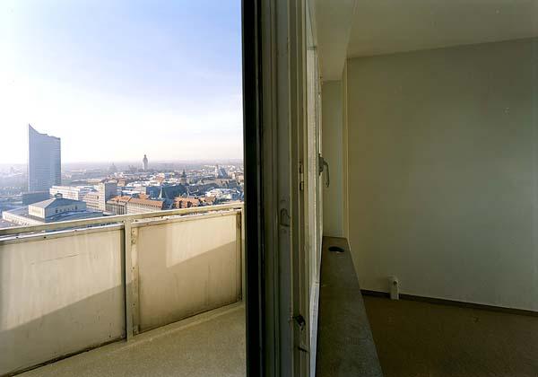 LEIPZIG, Wintergarten-Hochhaus, inside out, looking south, Dez.2002