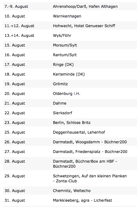 Aktuell: Termine im August 2013
