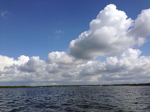 ... auf dem Cospudener See, Blick in Richtung Leipzig-City, i-Phone, 16.08.2014