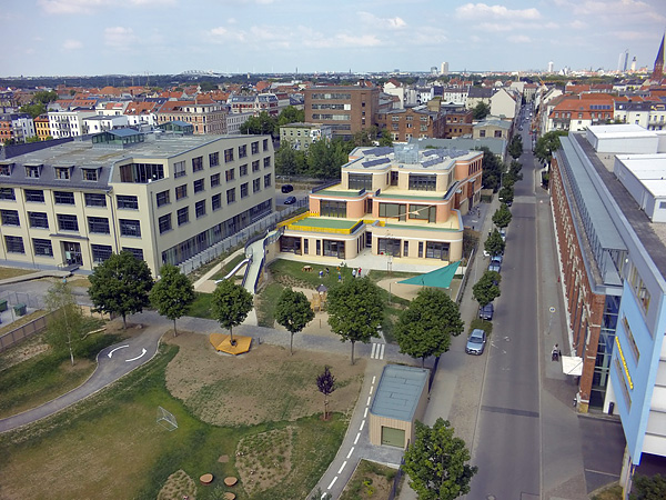 LEIPZIG, BAU-CHRONIK, KITA, CHILDHOOD, overview, Coptographie, looking east, 07.07.2014