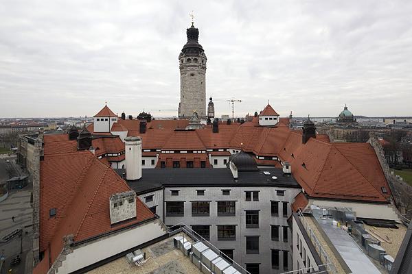 LEIPZIG, Rathaus, Ansicht vom TRIAS 12 nach Süden, 20.02.2014