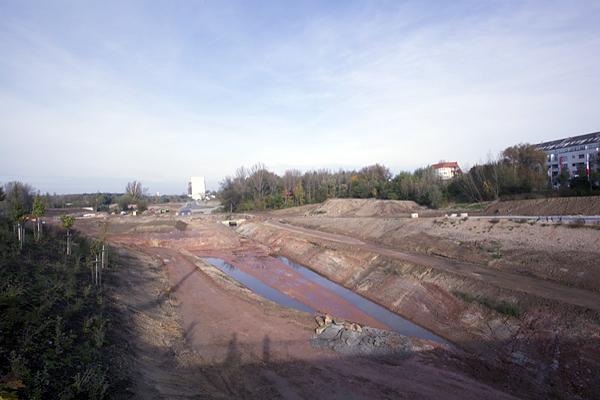 LEIPZIG, PANORAMA, Hafenbecken-Neu, am Wassertorplatz, looking north, 18.10..2014