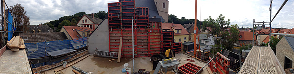 Lutherstadt Eisleben, Lutherarchiv, outside pano-overview, looking south-east, 30.08.2014