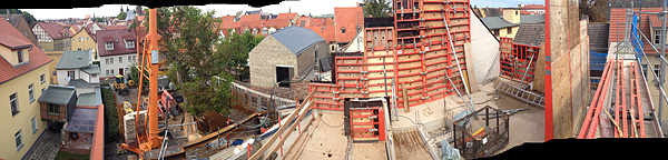 Lutherstadt Eisleben, Lutherarchiv, outside pano-overview, looking north-east, 30.08.2014