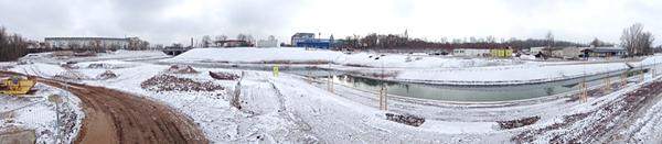 LEIPZIG, HAFEN-PANORAMA, Hafenbecken-Neu, am Wassertorplatz, looking south-east, 05.02.2015