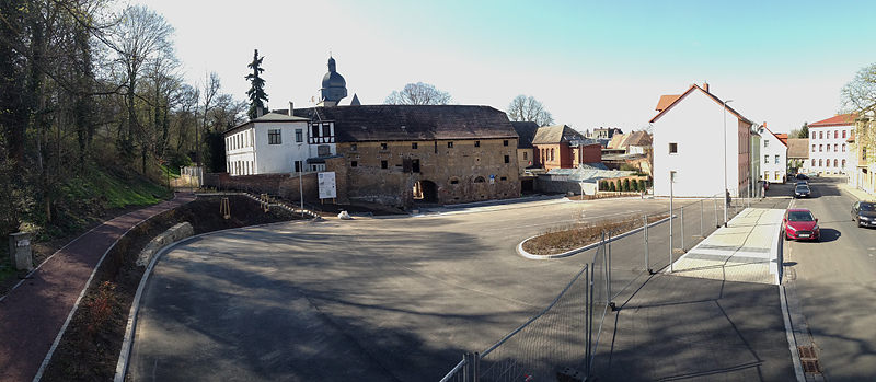 Lutherstadt Eisleben, Malzscheune Bahnhofstraße 32, outside overview, looking west, i-Phoneography-Panorama, 15.04.2015