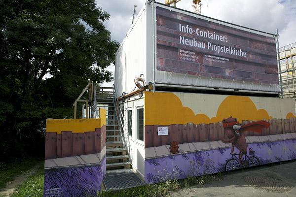 LEIPZIG, INNENSTADT, PROPSTEIKICHE-BAUCONTAINER, west view, 11.08.2013