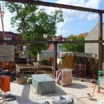 Lutherstadt Eisleben, Lutherarchiv, von Innen, Blick in den Schöpfungsgarten, 03.06.2014