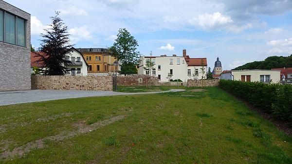 EISLEBEN, Vikariatsgarten, FreiSicht auf Taufkirche, Rasen und Hecke grün, looking east, 03.06.2014