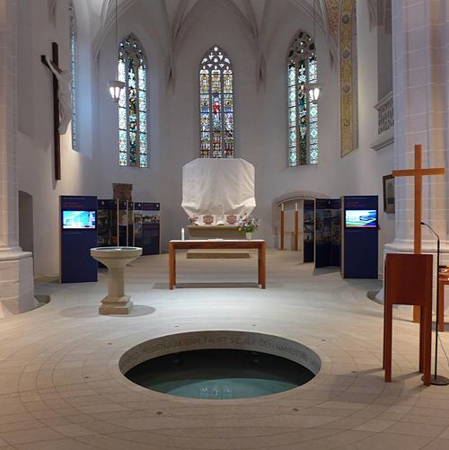 Lutherstadt Eisleben, Zentrum Taufe, St. Petri-Pauli-Kirche, Ausstellung-Detail, 03.06.2014