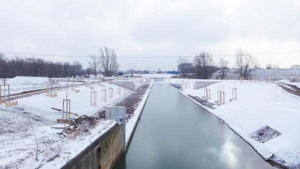 LEIPZIG, Hafenbecken-Neu, am Wassertorplatz, looking south, 05.02.2015