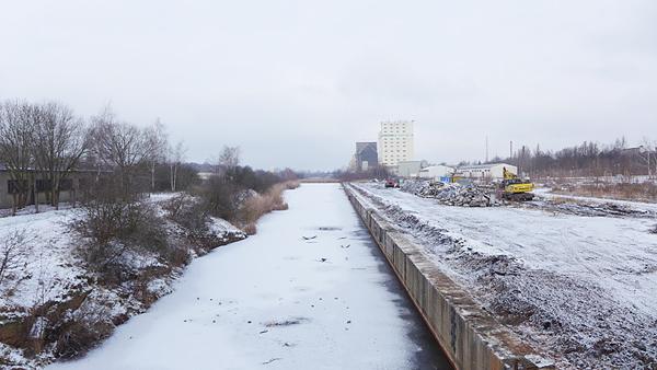 LEIPZIG, Hafenbecken-Alt, am Wassertorplatz, looking north, 05.02.2015