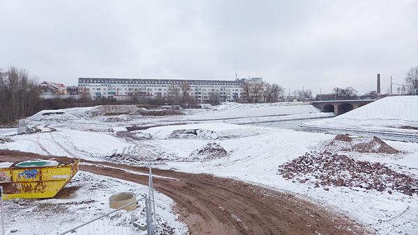 LEIPZIG, Hafenbecken-Neu, am Wassertorplatz, looking east, 05.02.2015