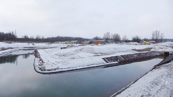 LEIPZIG, Hafenbecken-Neu, am Wassertorplatz, looking west, 05.02.2015