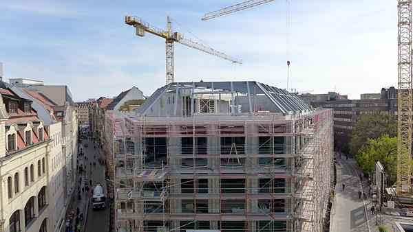 LEIPZIG, HANDELSHAUS HAINSPITZE, BAUFELD, looking south, 30.10.2014