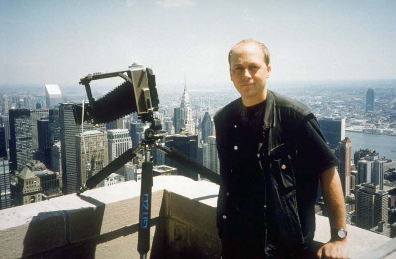 New York City, myselfportrait, on Empire State Building, LINNHOF 5/7' - large format Camera, looking north-east, 15.05.1996