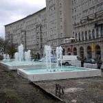 Leipzig, Roßplatz, Springbrunnen, Funktionstest Wasseranlage, 02.11.2012