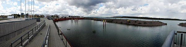 KAP ZWENKAU, Marina mit Restaurant 'tara', looking West,  iPHONE-PANORAMA, 16.08.2014